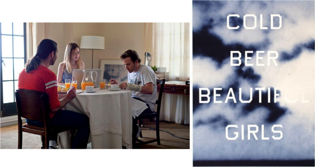 """Left: """"Somewhere"""" featuring Ruscha's painting leaning against the wall. Right: Ruscha's painting in its entirety."""