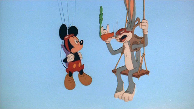 Bugs Bunny and Mickey Mouse on screen together.